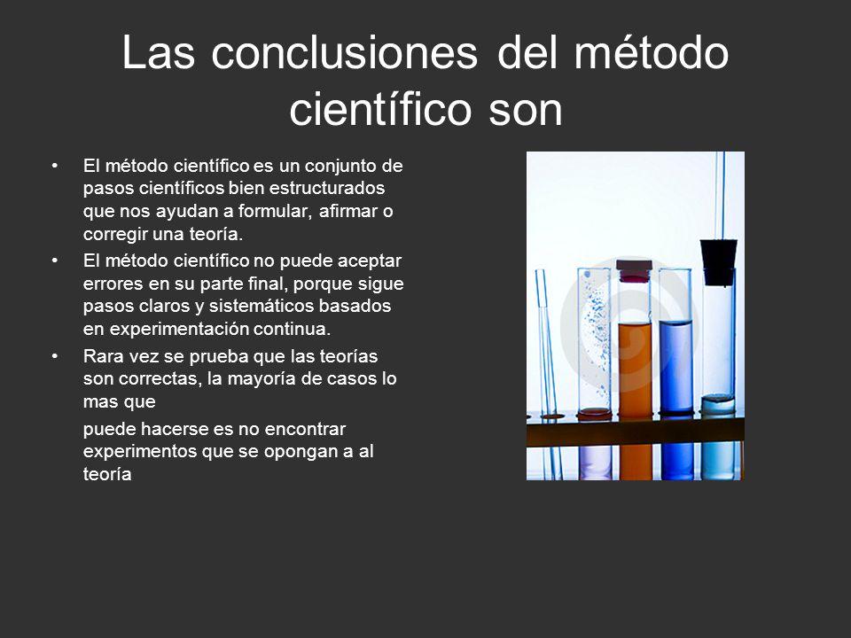 Las conclusiones del método científico son