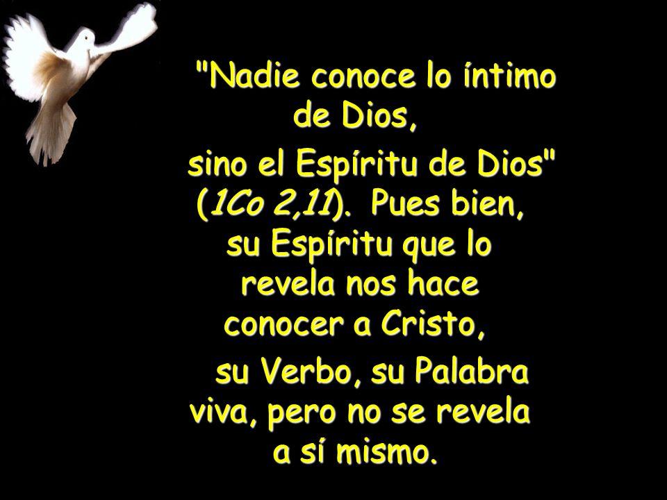 su Verbo, su Palabra viva, pero no se revela a sí mismo.