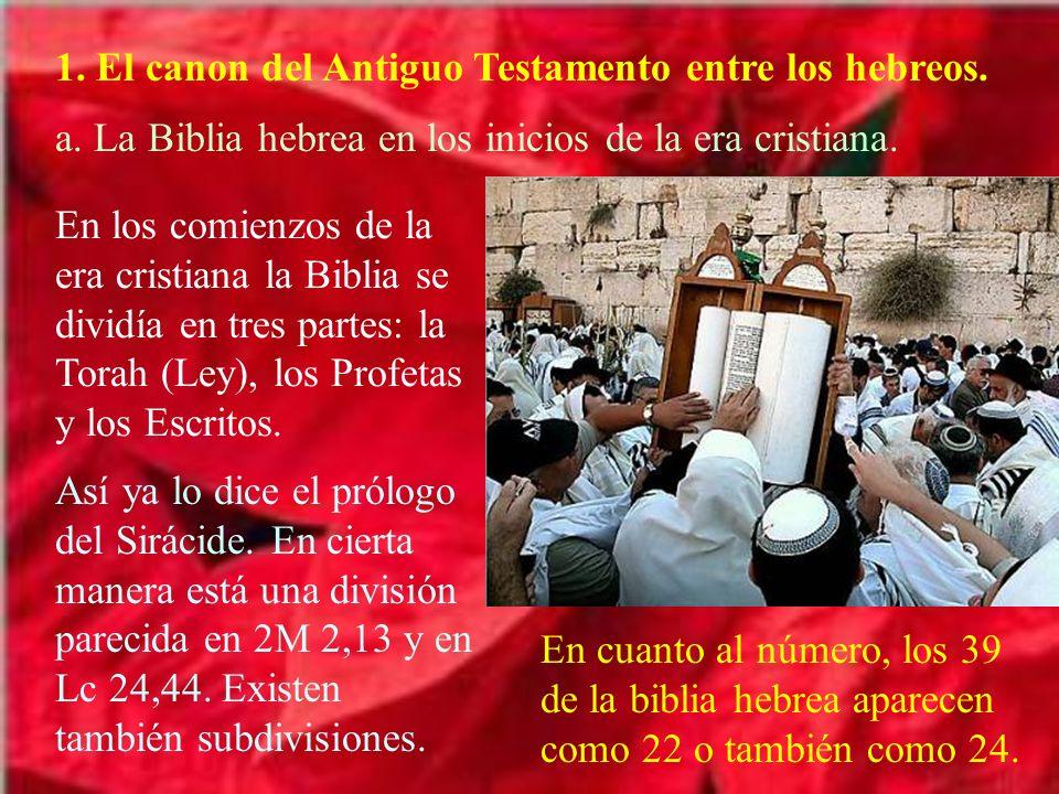 1. El canon del Antiguo Testamento entre los hebreos.