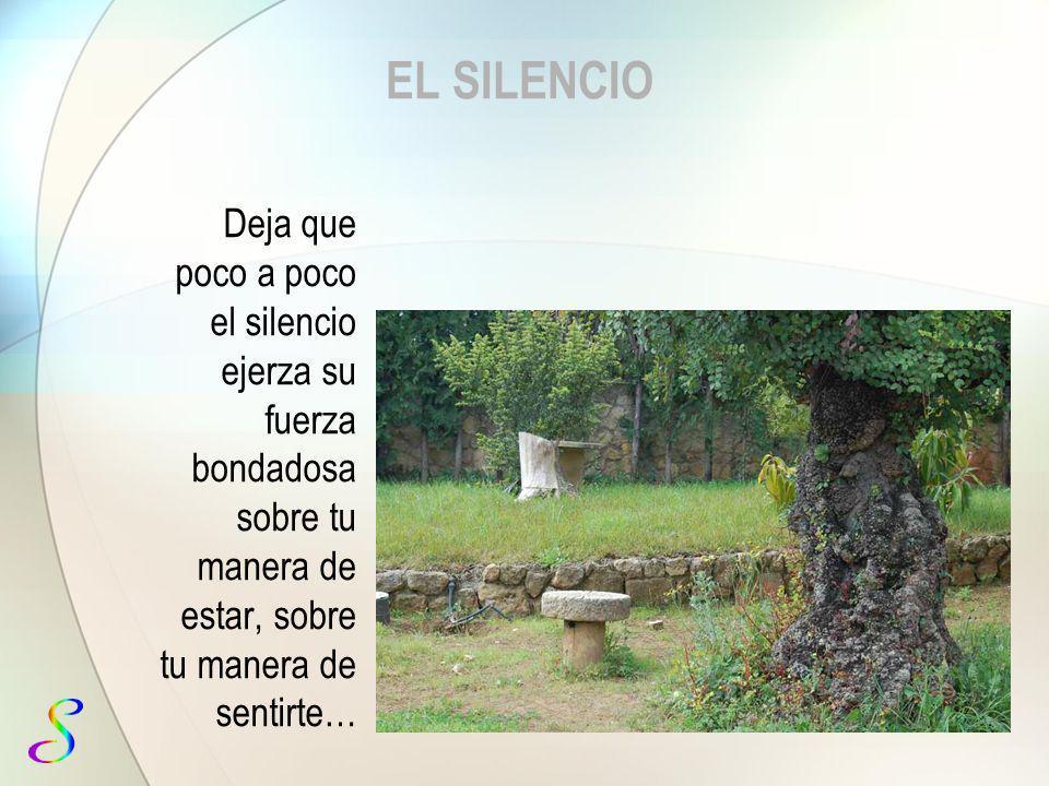 EL SILENCIO Deja que poco a poco el silencio ejerza su fuerza bondadosa sobre tu manera de estar, sobre tu manera de sentirte…