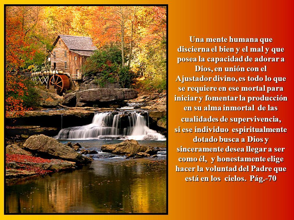 Una mente humana que discierna el bien y el mal y que posea la capacidad de adorar a Dios, en unión con el Ajustador divino, es todo lo que se requiere en ese mortal para iniciar y fomentar la producción en su alma inmortal de las cualidades de supervivencia,