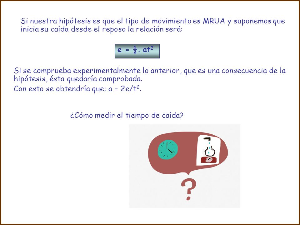 Si nuestra hipótesis es que el tipo de movimiento es MRUA y suponemos que inicia su caída desde el reposo la relación será: