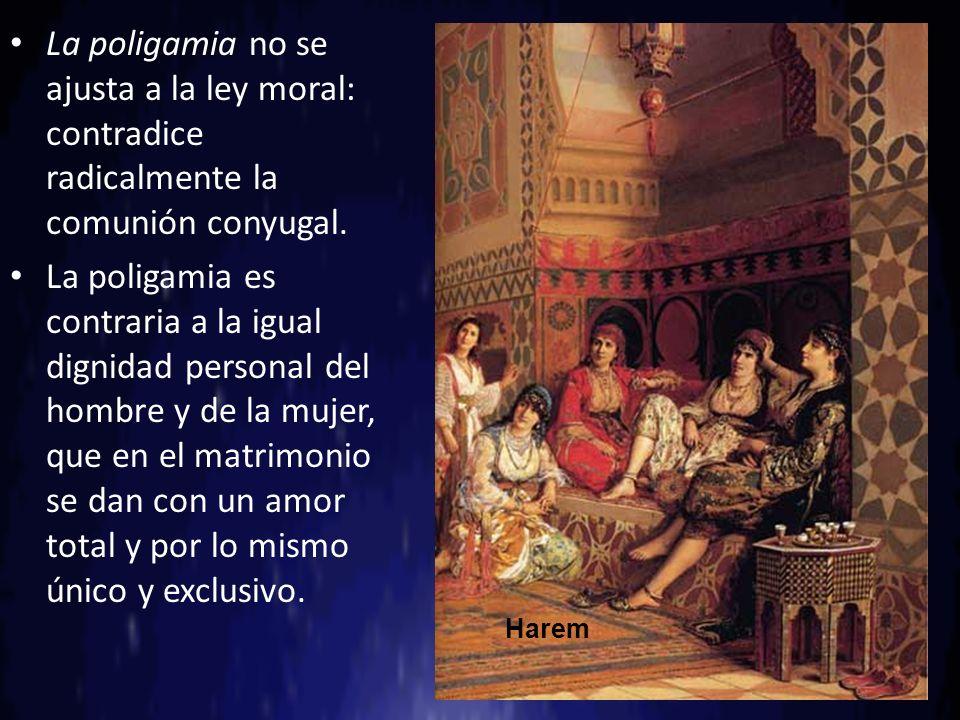 La poligamia no se ajusta a la ley moral: contradice radicalmente la comunión conyugal.