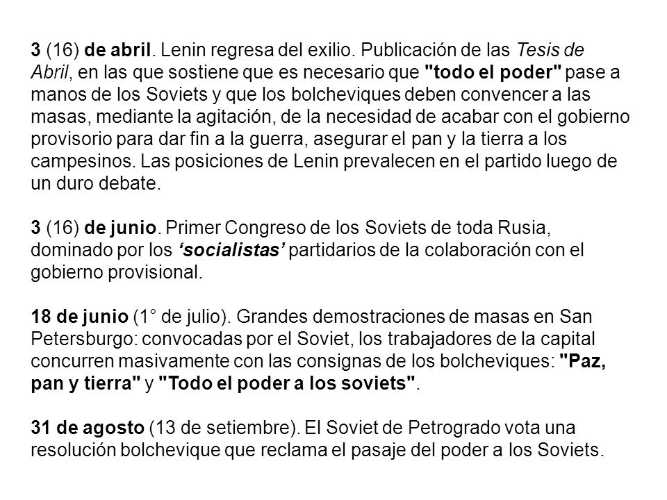 3 (16) de abril. Lenin regresa del exilio