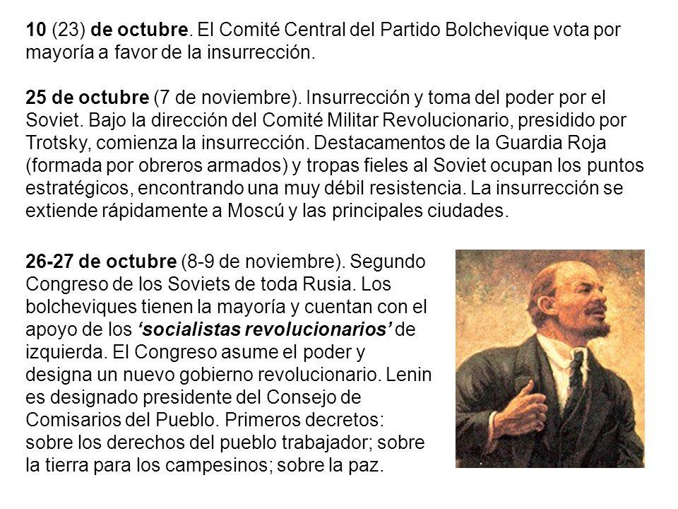 10 (23) de octubre. El Comité Central del Partido Bolchevique vota por mayoría a favor de la insurrección.