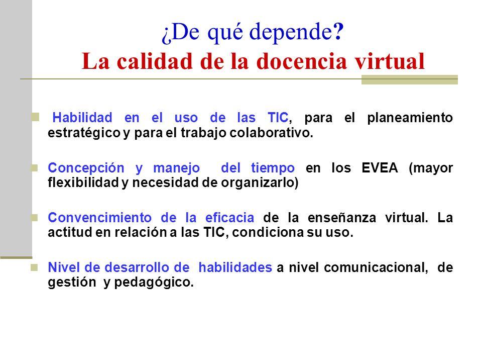 ¿De qué depende La calidad de la docencia virtual