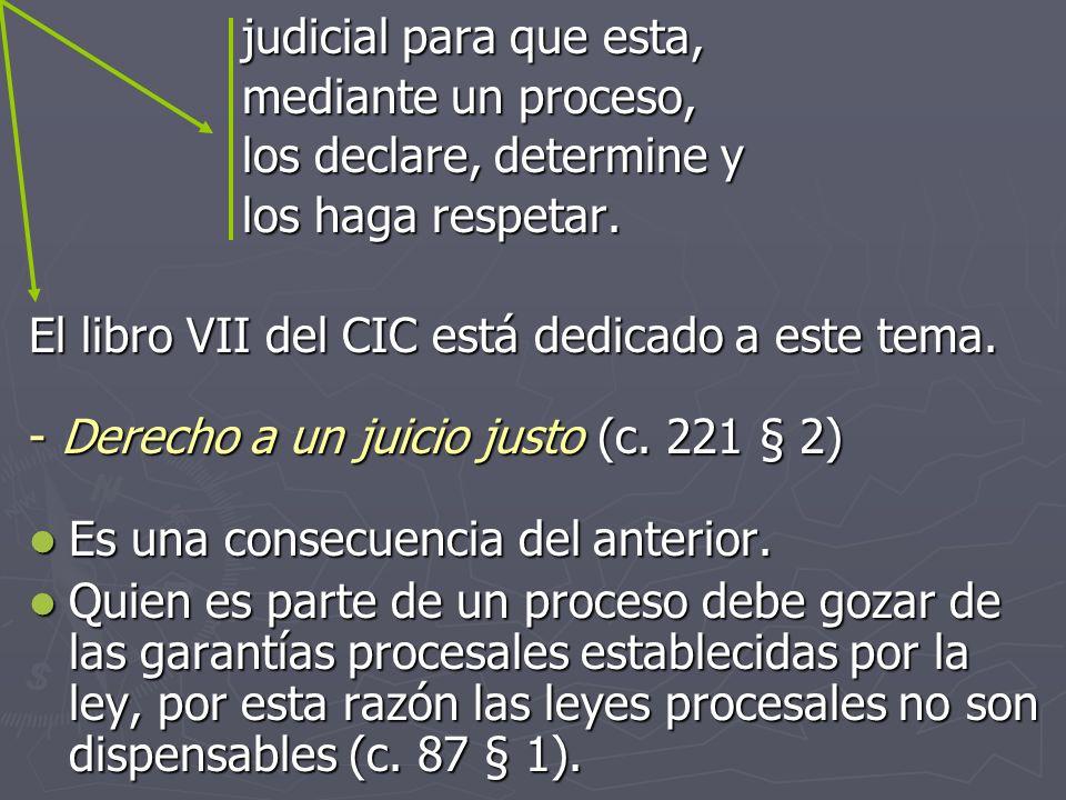 judicial para que esta, mediante un proceso, los declare, determine y. los haga respetar. El libro VII del CIC está dedicado a este tema.