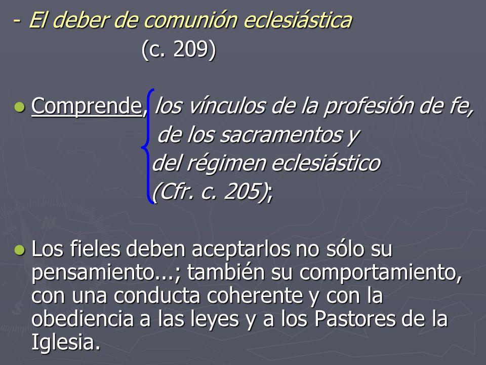 ‑ El deber de comunión eclesiástica