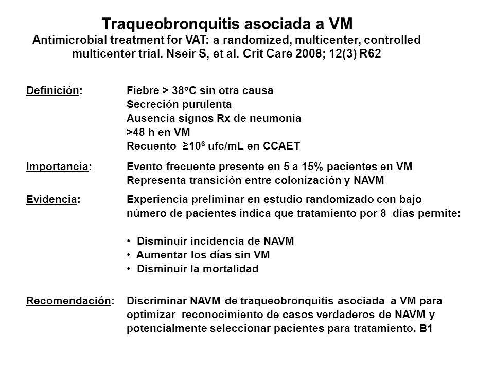Traqueobronquitis asociada a VM Antimicrobial treatment for VAT: a randomized, multicenter, controlled multicenter trial. Nseir S, et al. Crit Care 2008; 12(3) R62