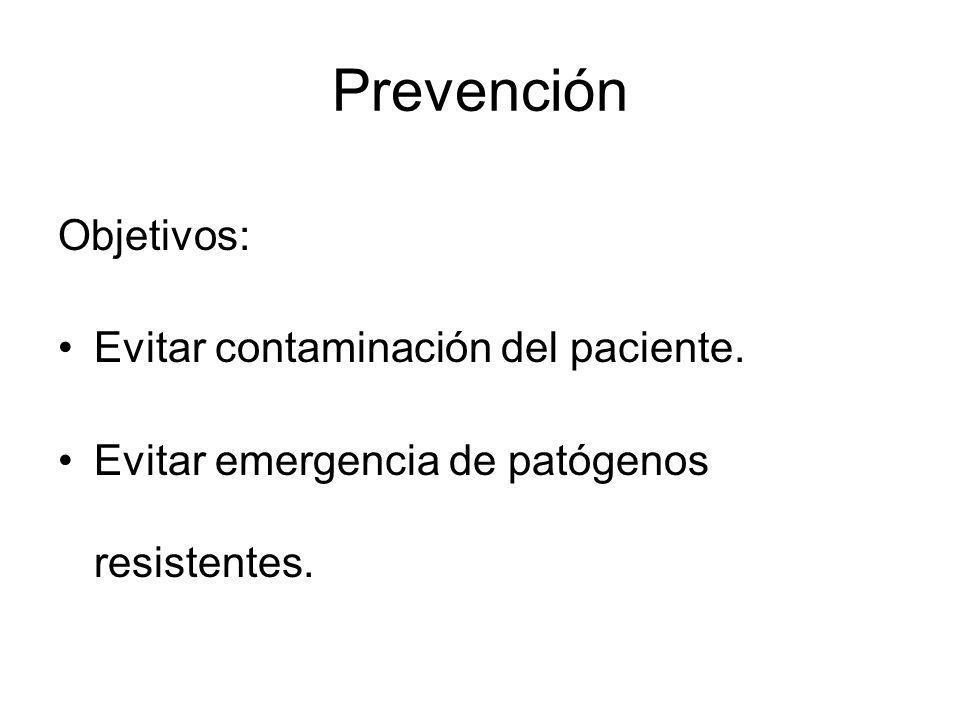 Prevención Objetivos: Evitar contaminación del paciente.