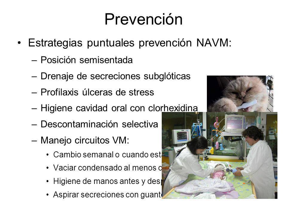 Prevención Estrategias puntuales prevención NAVM: Posición semisentada