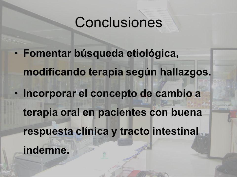 Conclusiones Fomentar búsqueda etiológica, modificando terapia según hallazgos.