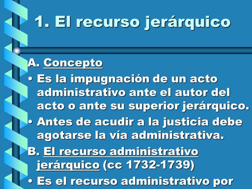 1. El recurso jerárquico A. Concepto