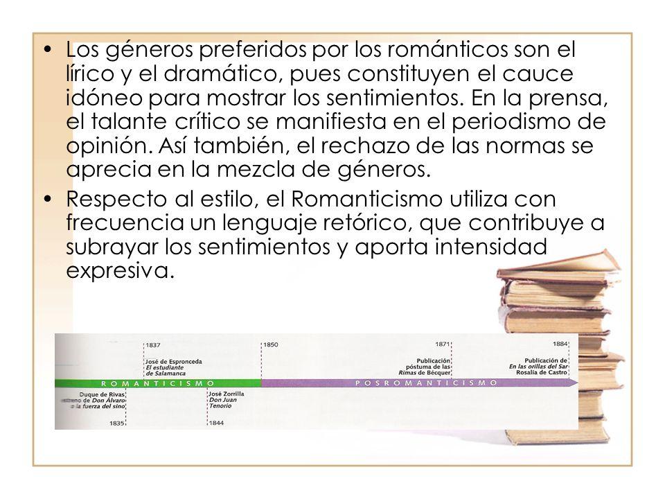 Los géneros preferidos por los románticos son el lírico y el dramático, pues constituyen el cauce idóneo para mostrar los sentimientos. En la prensa, el talante crítico se manifiesta en el periodismo de opinión. Así también, el rechazo de las normas se aprecia en la mezcla de géneros.