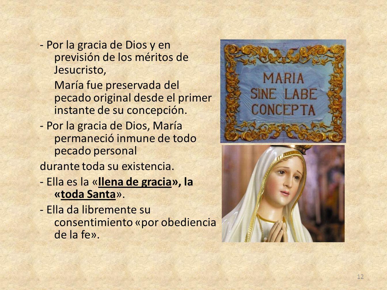 - Por la gracia de Dios y en previsión de los méritos de Jesucristo, María fue preservada del pecado original desde el primer instante de su concepción.