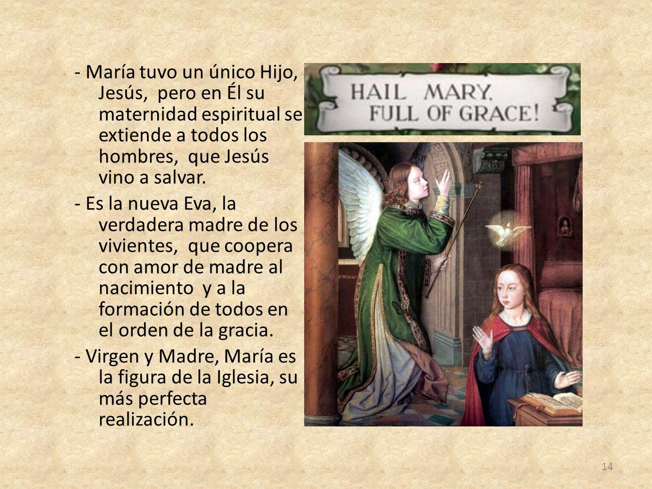 - María tuvo un único Hijo, Jesús, pero en Él su maternidad espiritual se extiende a todos los hombres, que Jesús vino a salvar.