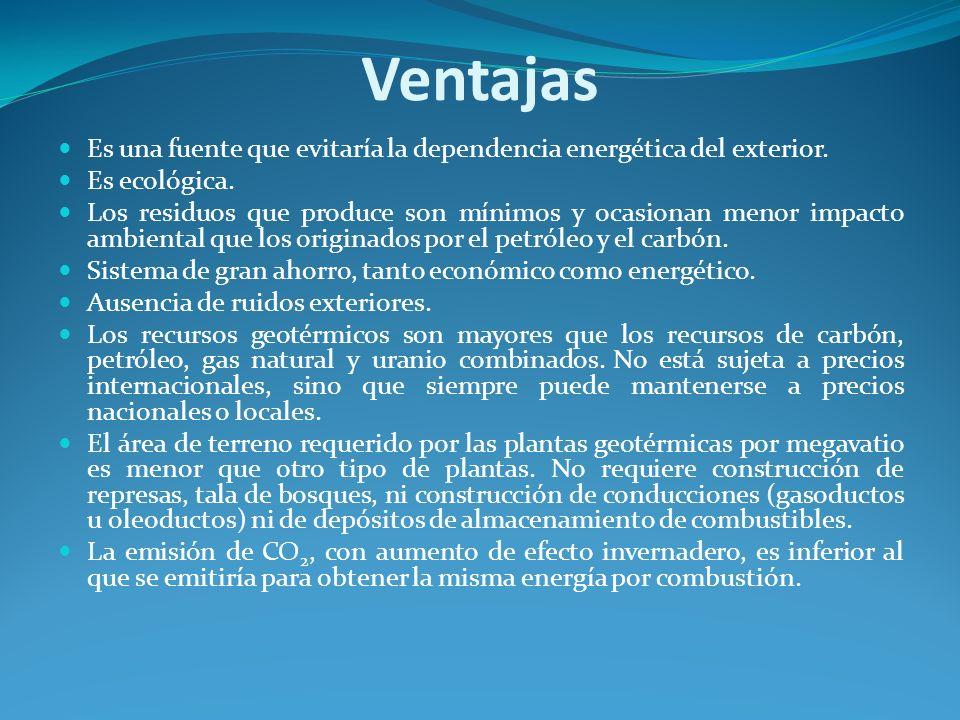 Ventajas Es una fuente que evitaría la dependencia energética del exterior. Es ecológica.