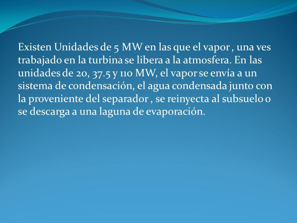 Existen Unidades de 5 MW en las que el vapor , una ves trabajado en la turbina se libera a la atmosfera.
