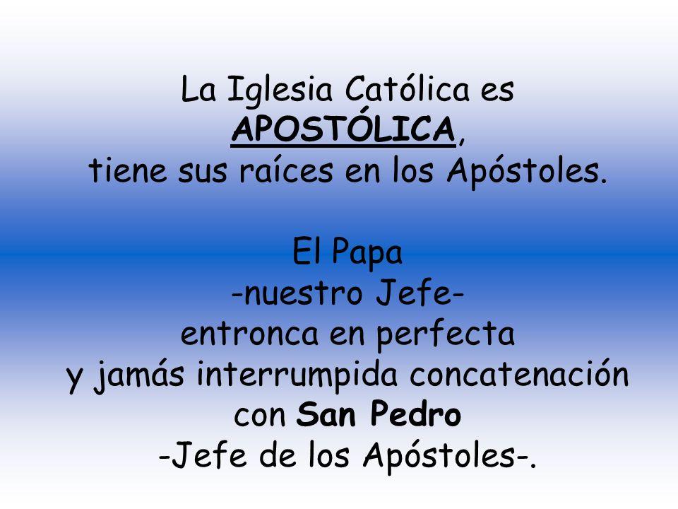 tiene sus raíces en los Apóstoles. El Papa -nuestro Jefe-