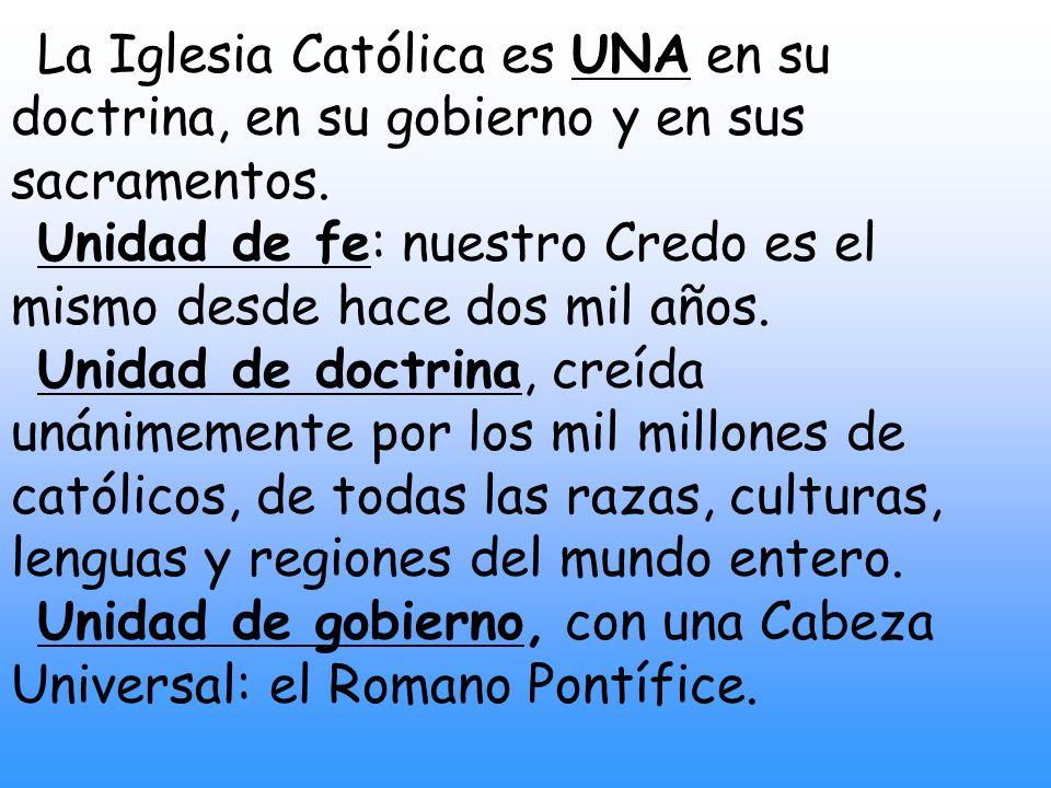 La Iglesia Católica es UNA en su doctrina, en su gobierno y en sus sacramentos.