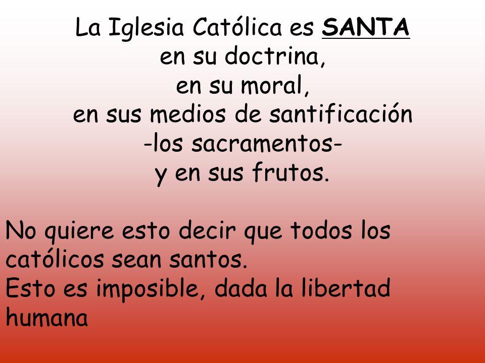 La Iglesia Católica es SANTA en su doctrina, en su moral,