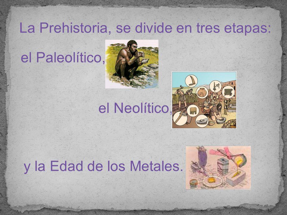 La Prehistoria, se divide en tres etapas: