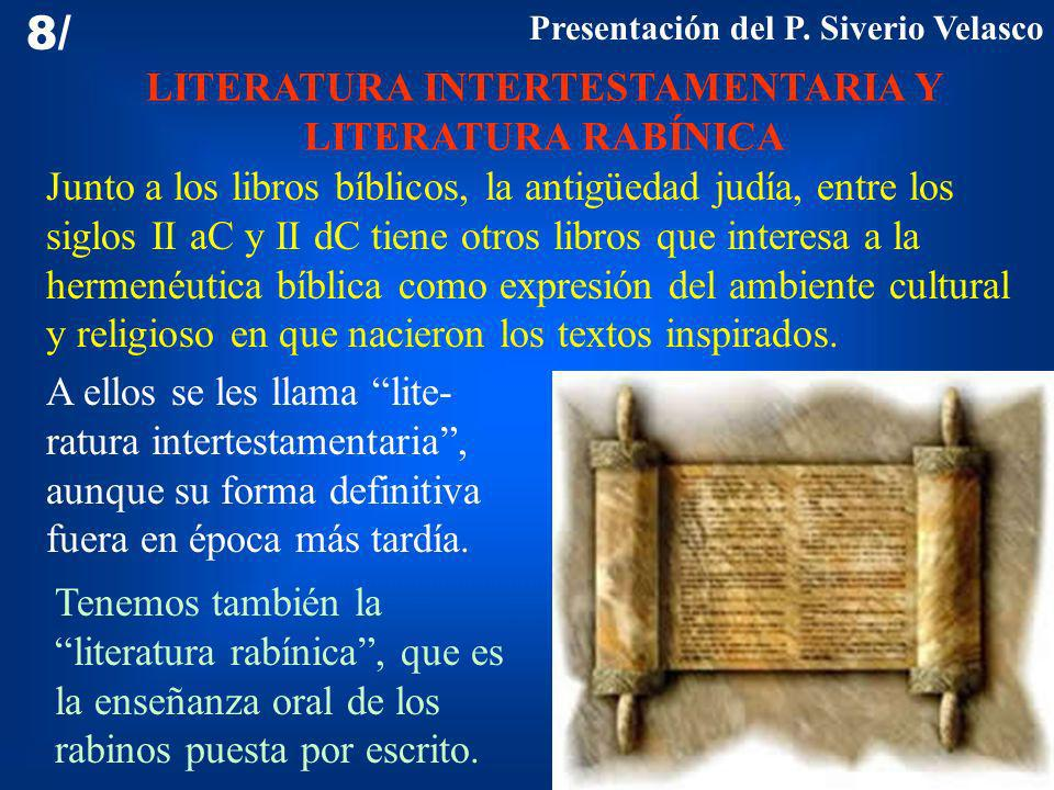 LITERATURA INTERTESTAMENTARIA Y LITERATURA RABÍNICA