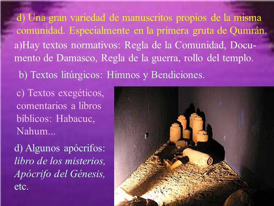 d) Una gran variedad de manuscritos propios de la misma comunidad
