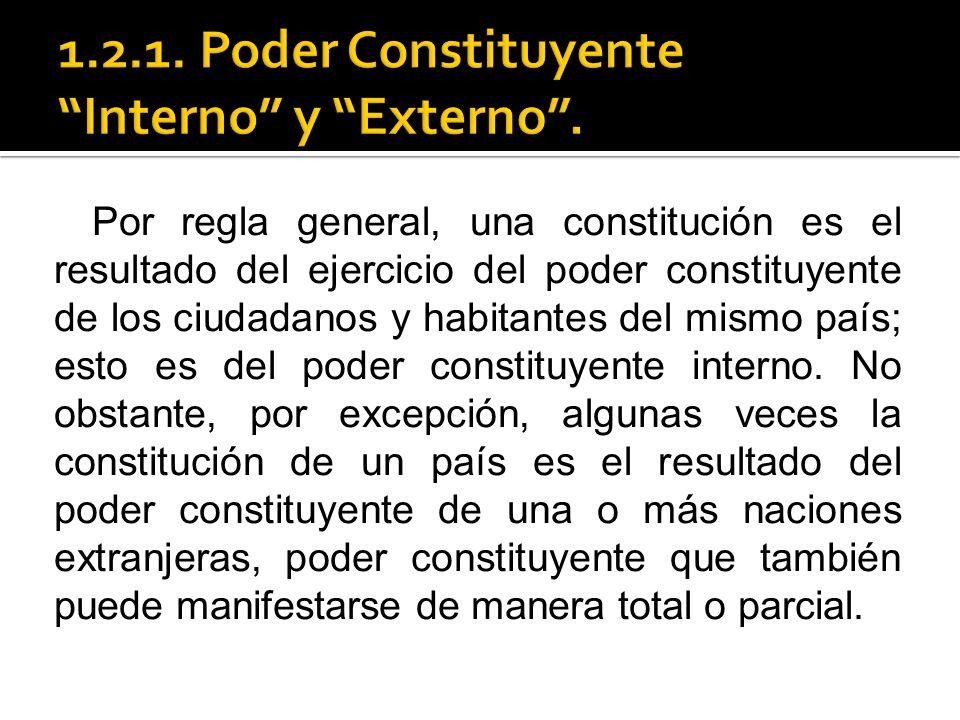 1.2.1. Poder Constituyente Interno y Externo .