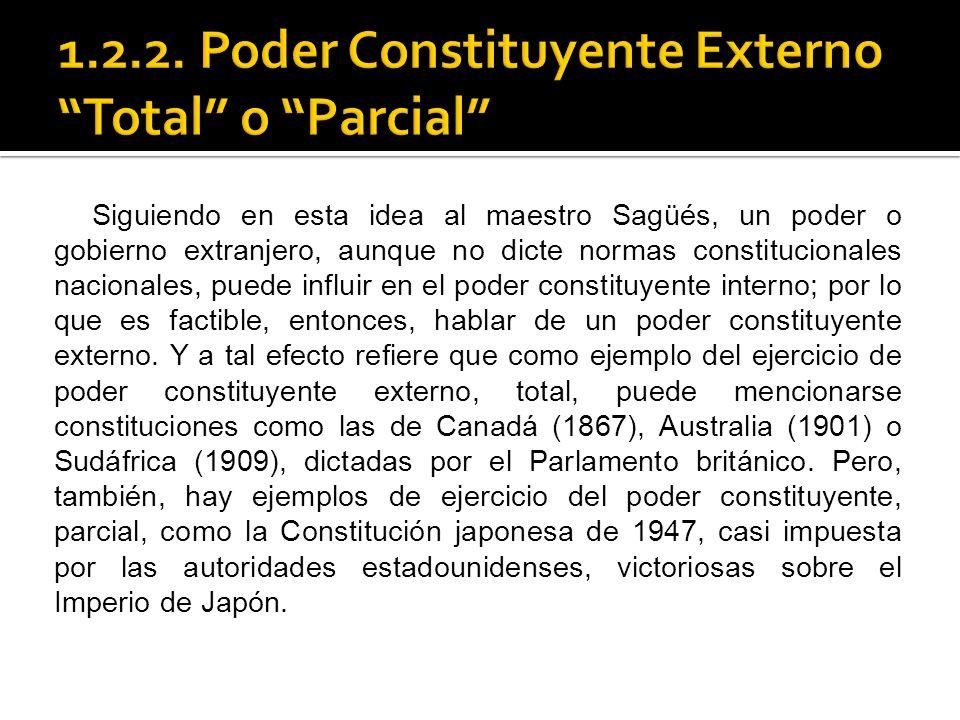 1.2.2. Poder Constituyente Externo Total o Parcial