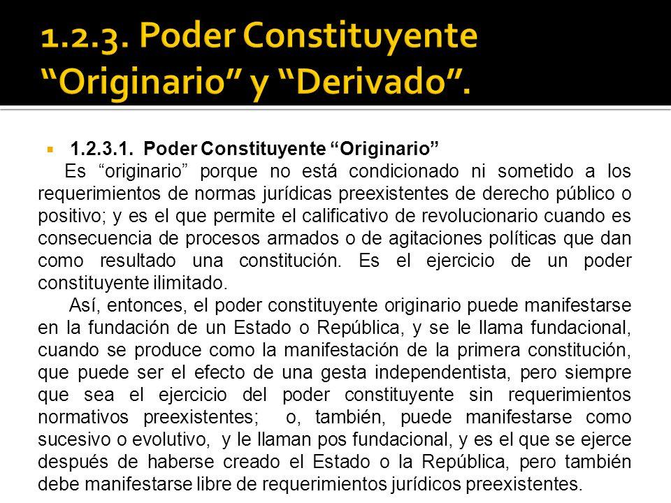 1.2.3. Poder Constituyente Originario y Derivado .