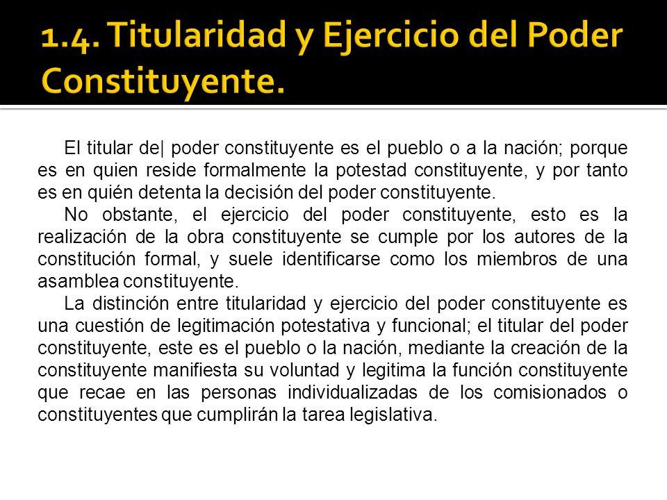 1.4. Titularidad y Ejercicio del Poder Constituyente.