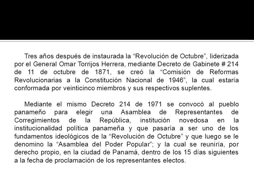 Tres años después de instaurada la Revolución de Octubre , liderizada por el General Omar Torrijos Herrera, mediante Decreto de Gabinete # 214 de 11 de octubre de 1871, se creó la Comisión de Reformas Revolucionarias a la Constitución Nacional de 1946 , la cual estaría conformada por veinticinco miembros y sus respectivos suplentes.