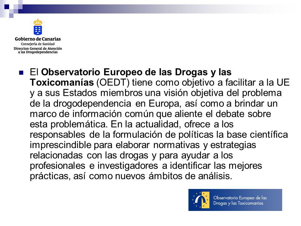 El Observatorio Europeo de las Drogas y las Toxicomanías (OEDT) tiene como objetivo a facilitar a la UE y a sus Estados miembros una visión objetiva del problema de la drogodependencia en Europa, así como a brindar un marco de información común que aliente el debate sobre esta problemática.