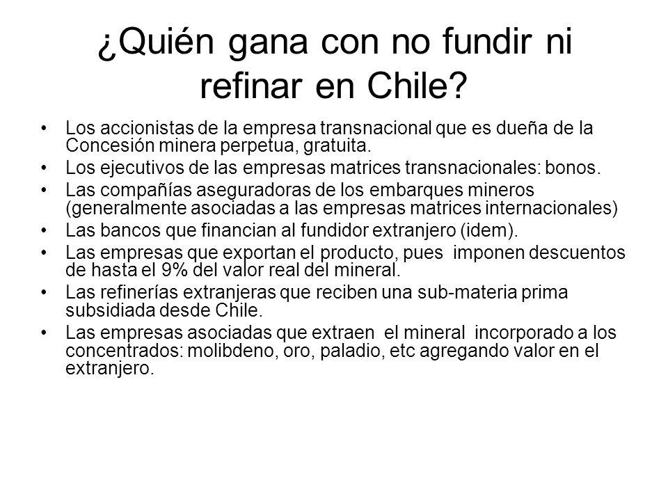 ¿Quién gana con no fundir ni refinar en Chile