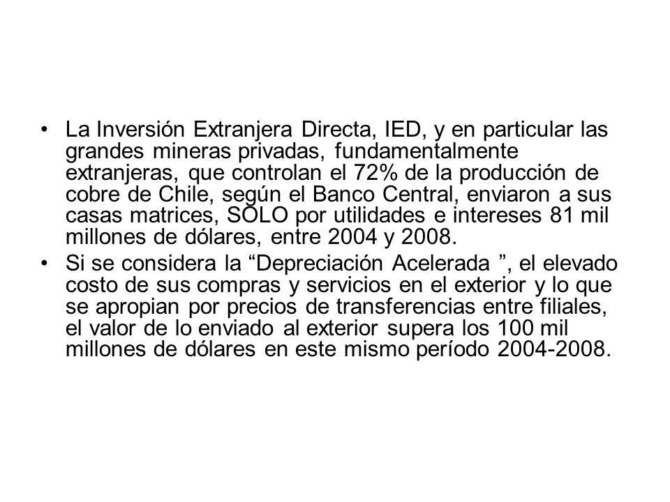 La Inversión Extranjera Directa, IED, y en particular las grandes mineras privadas, fundamentalmente extranjeras, que controlan el 72% de la producción de cobre de Chile, según el Banco Central, enviaron a sus casas matrices, SOLO por utilidades e intereses 81 mil millones de dólares, entre 2004 y 2008.