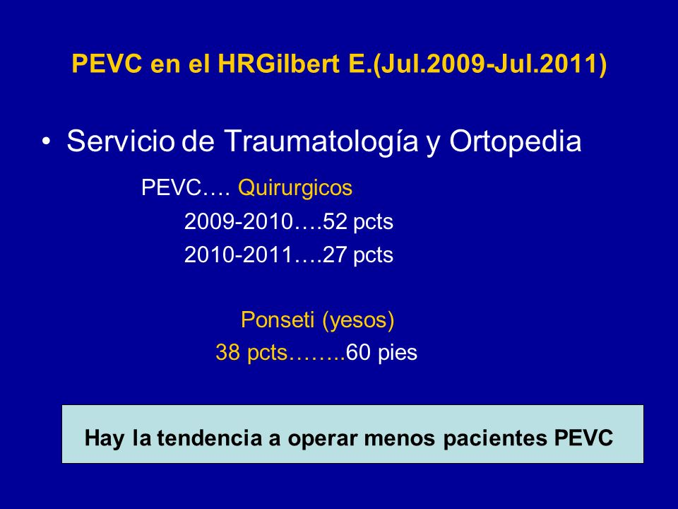 PEVC en el HRGilbert E.(Jul.2009-Jul.2011)