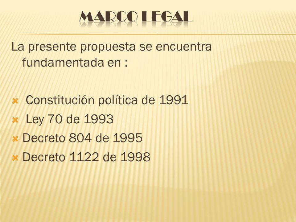 Marco legal La presente propuesta se encuentra fundamentada en :