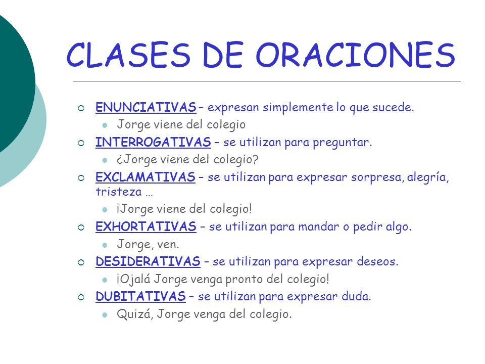 CLASES DE ORACIONES ENUNCIATIVAS – expresan simplemente lo que sucede.