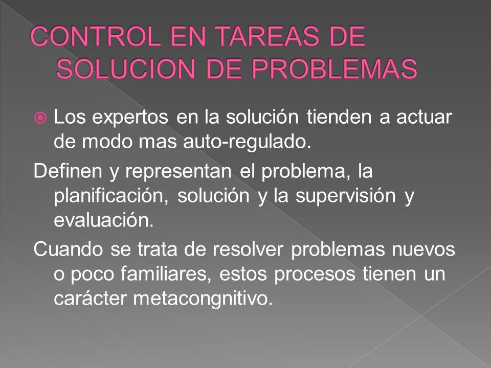 CONTROL EN TAREAS DE SOLUCION DE PROBLEMAS