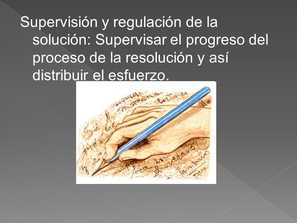 Supervisión y regulación de la solución: Supervisar el progreso del proceso de la resolución y así distribuir el esfuerzo.