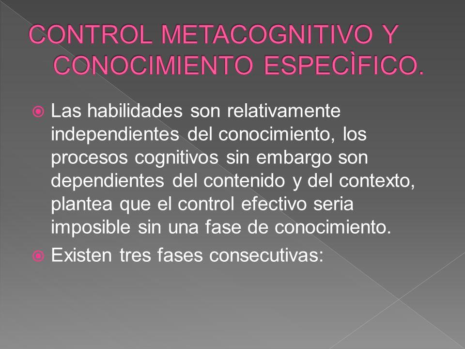 CONTROL METACOGNITIVO Y CONOCIMIENTO ESPECÌFICO.