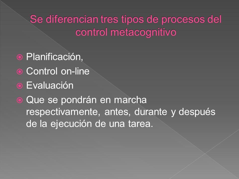 Se diferencian tres tipos de procesos del control metacognitivo