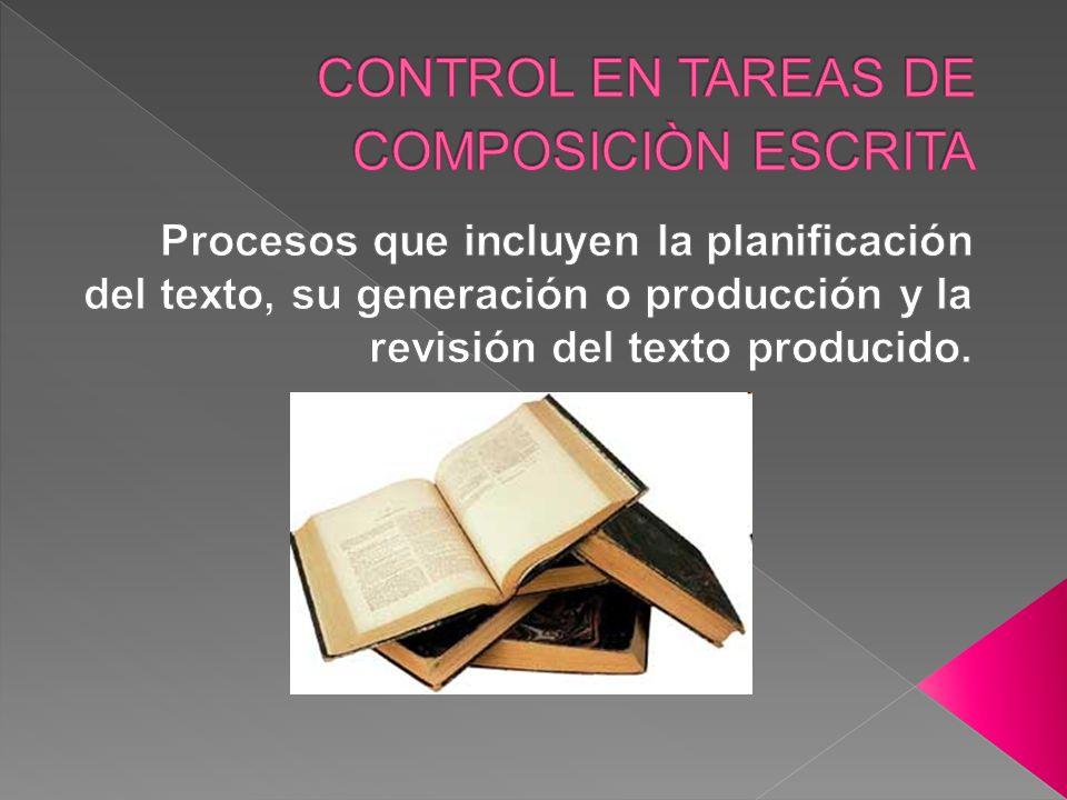 CONTROL EN TAREAS DE COMPOSICIÒN ESCRITA