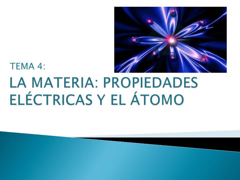 LA MATERIA: PROPIEDADES ELÉCTRICAS Y EL ÁTOMO
