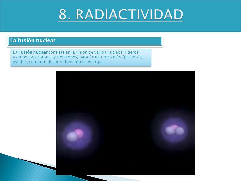 8. RADIACTIVIDAD La fusión nuclear