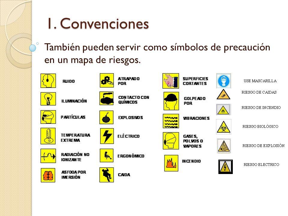 1. Convenciones También pueden servir como símbolos de precaución en un mapa de riesgos.