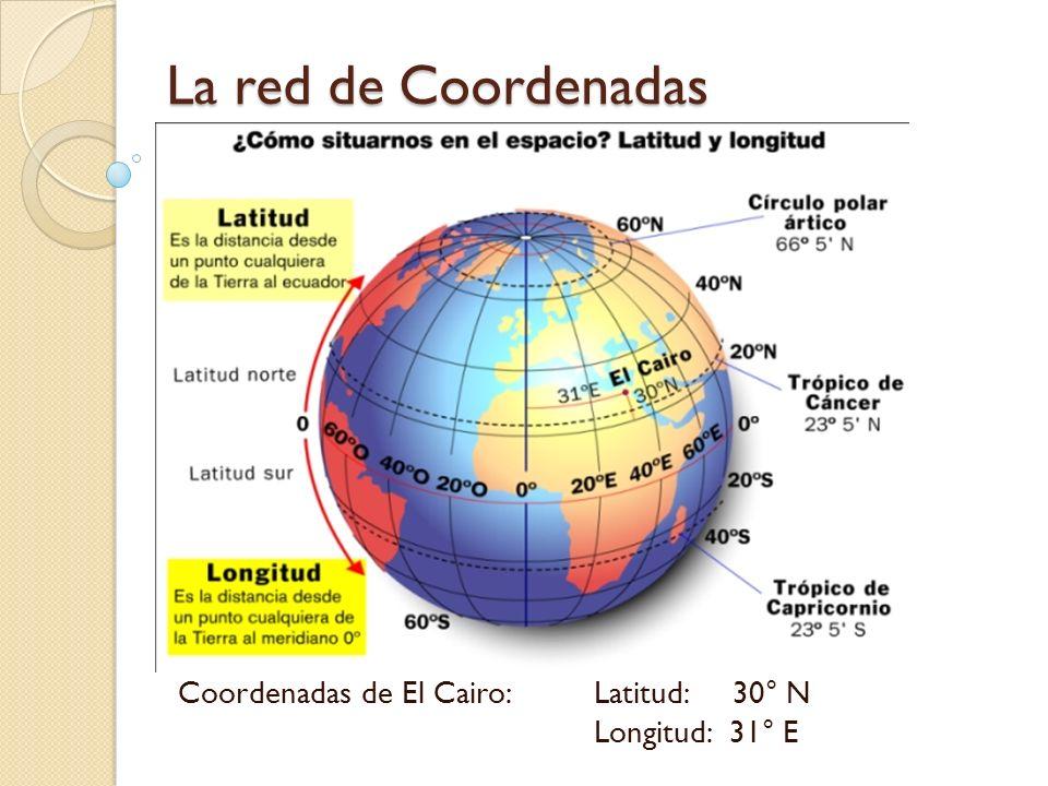 Coordenadas de El Cairo: Latitud: 30° N Longitud: 31° E