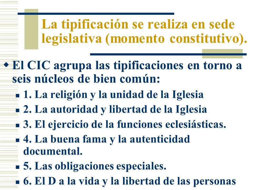 La tipificación se realiza en sede legislativa (momento constitutivo).