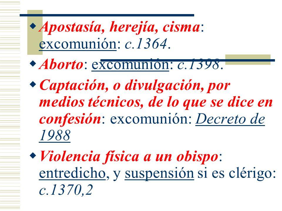 Apostasía, herejía, cisma: excomunión: c.1364.